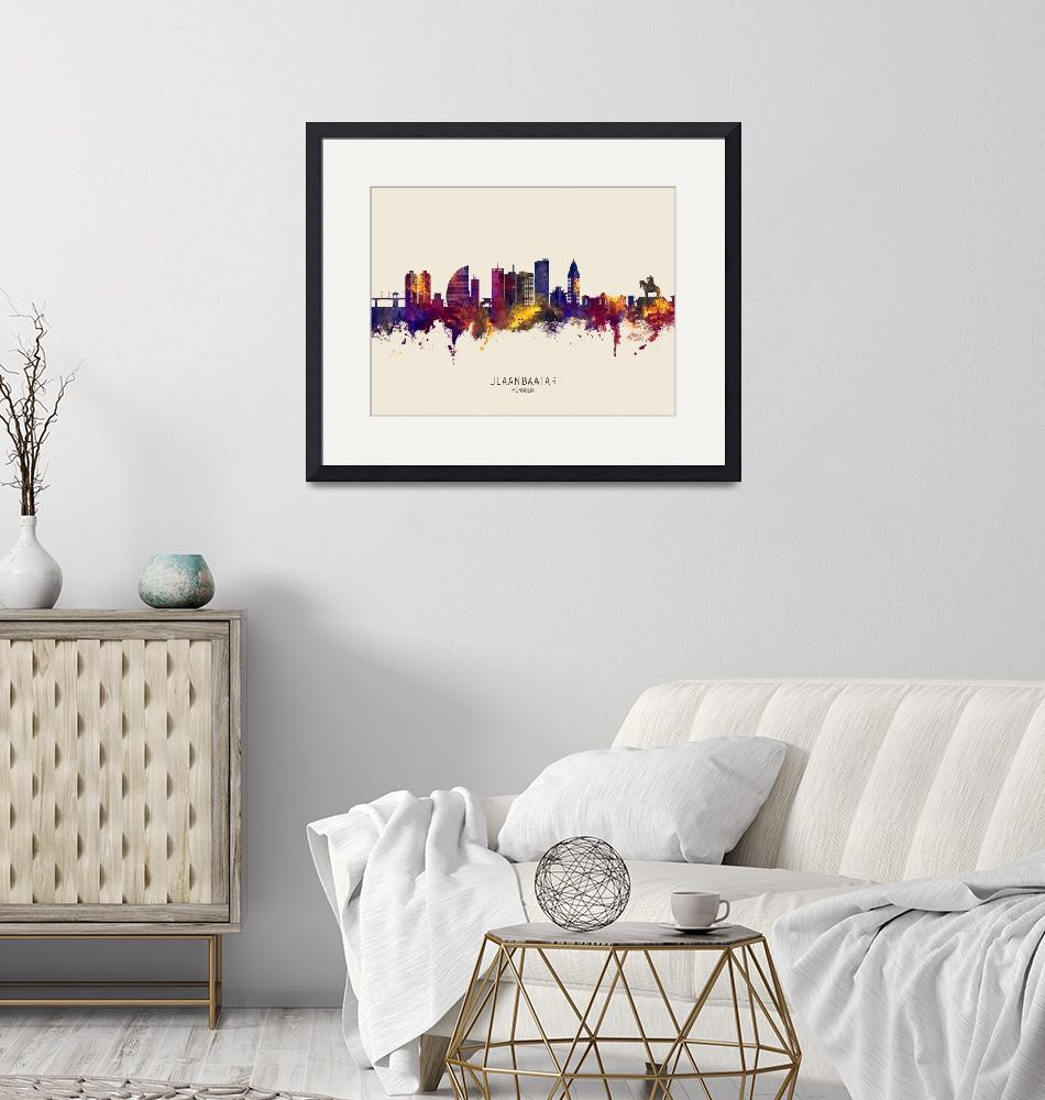 """Ulaanbaatar Mongolia Skyline"" (2020) by ModernArtPrints"