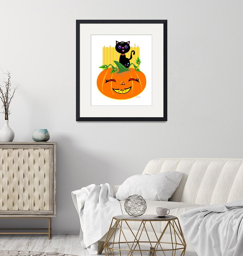 """Halloween Pumpkin and Black Cat""  (2011) by theblueplanet"