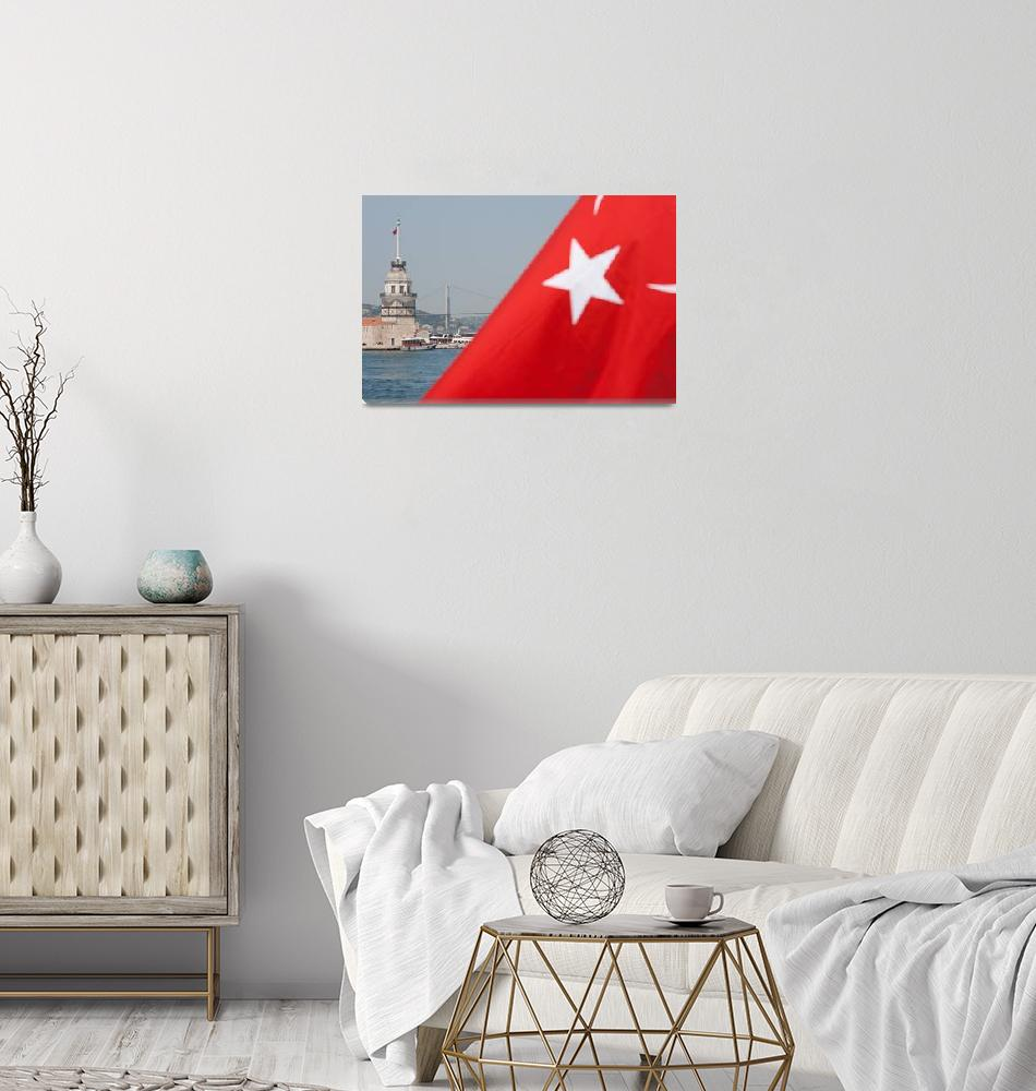 """""""Turkish flag and Maiden tower in Istanbul""""  (2010) by sebnemkoken"""