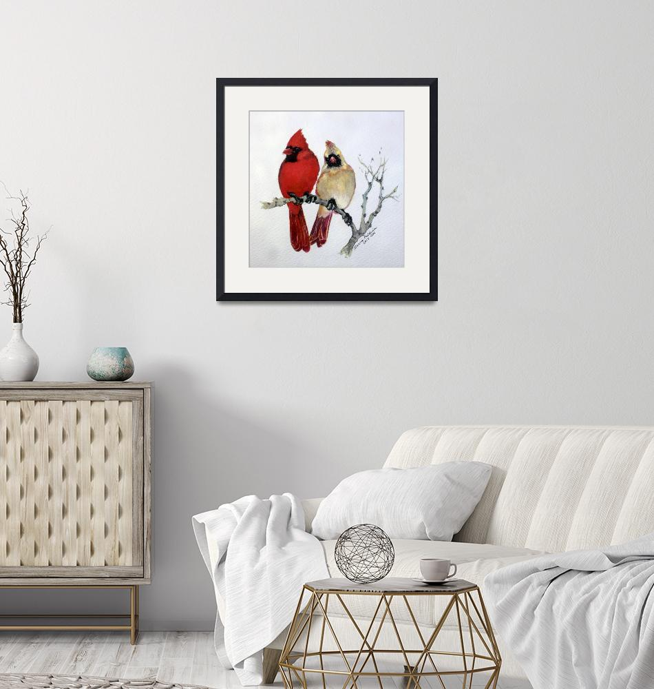 """""""SASSY PAIR CARDINALS"""" (2017) by MBaldwinFineArt2006"""