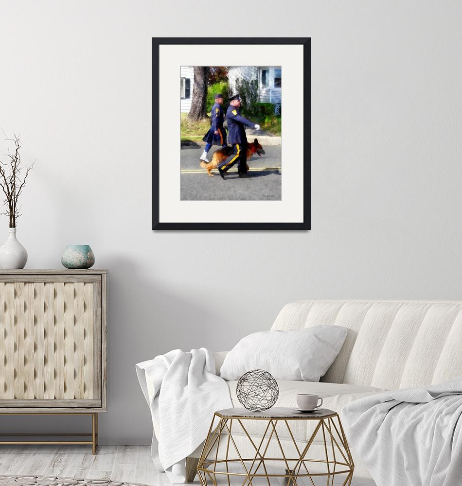 """""""Policeman and Police Dog in Parade""""  by susansartgallery"""