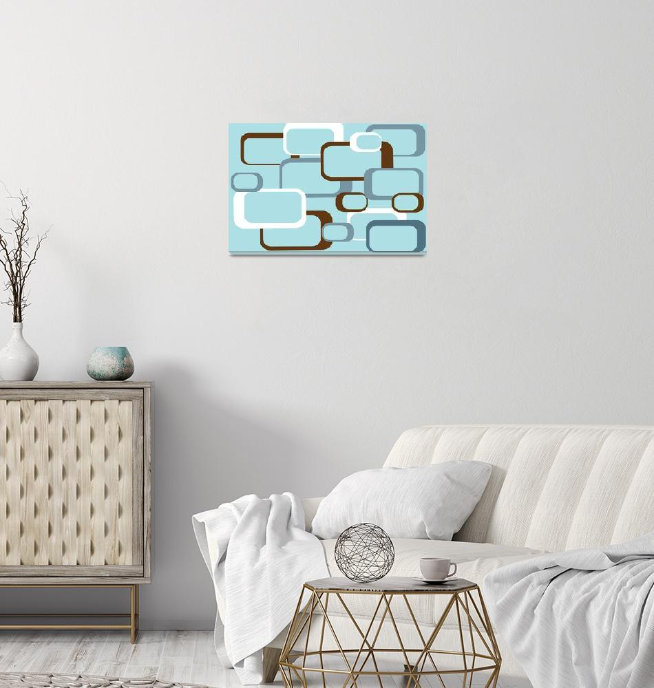 """Retro Squares with Light Blue Background""  (2009) by ValeriesGallery"