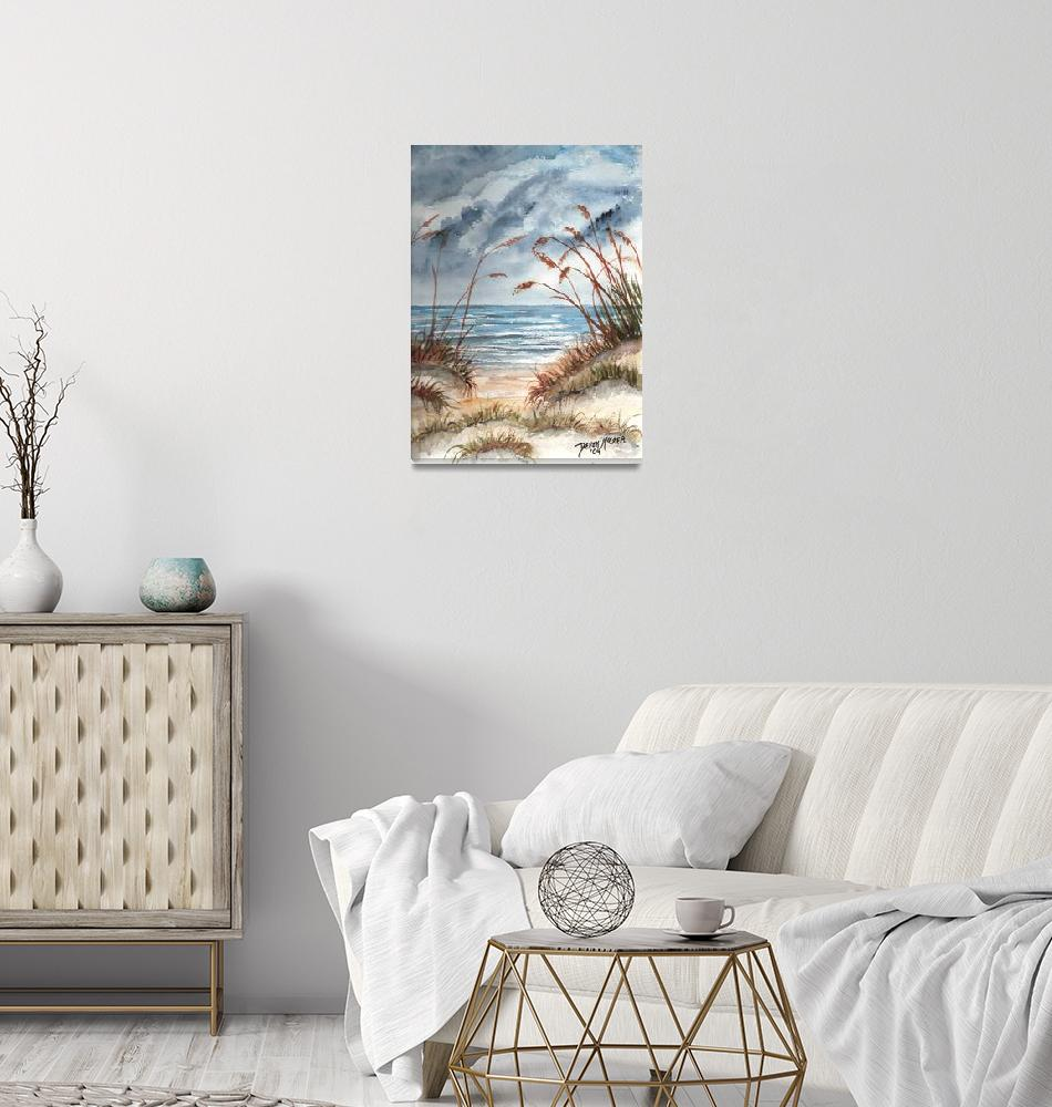 """dunes seascape beach print""  (2006) by derekmccrea"