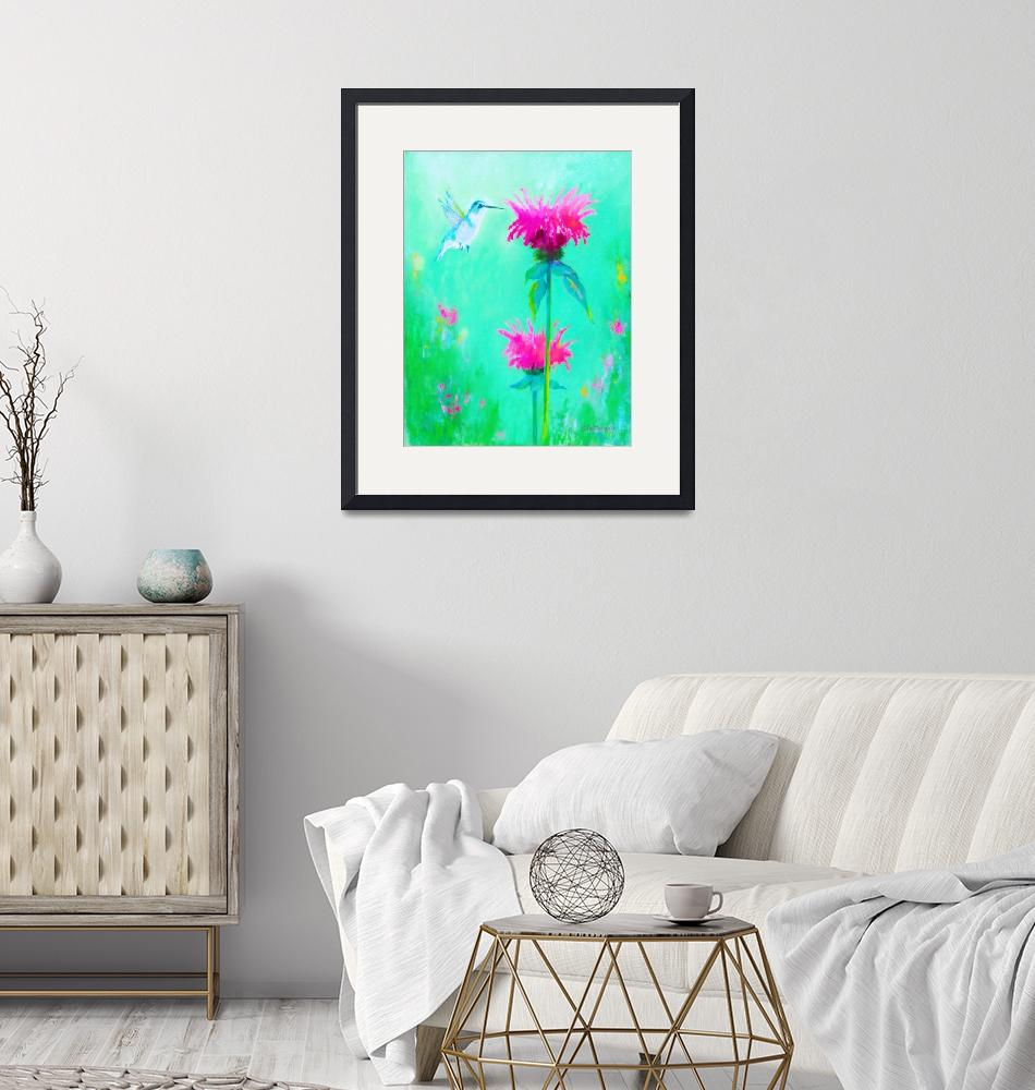 """""""Hummingbird with Beebalm Flowers""""  (2015) by carolscolorsfrommymind"""