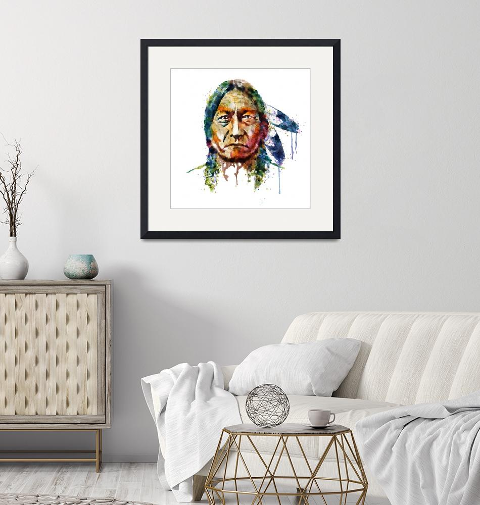 """""""Sitting Bull Watercolor Painting"""" (2015) by MarianVoicu"""