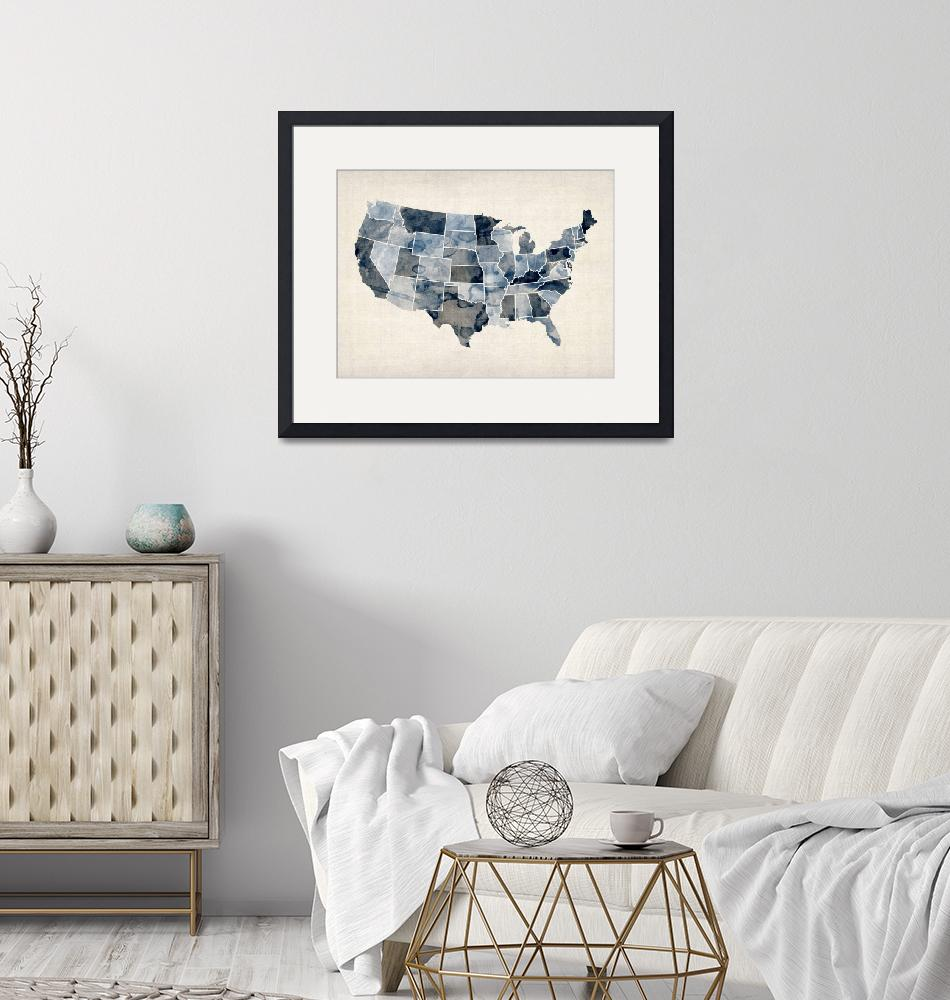 """United States Watercolor Map""  (2012) by ModernArtPrints"