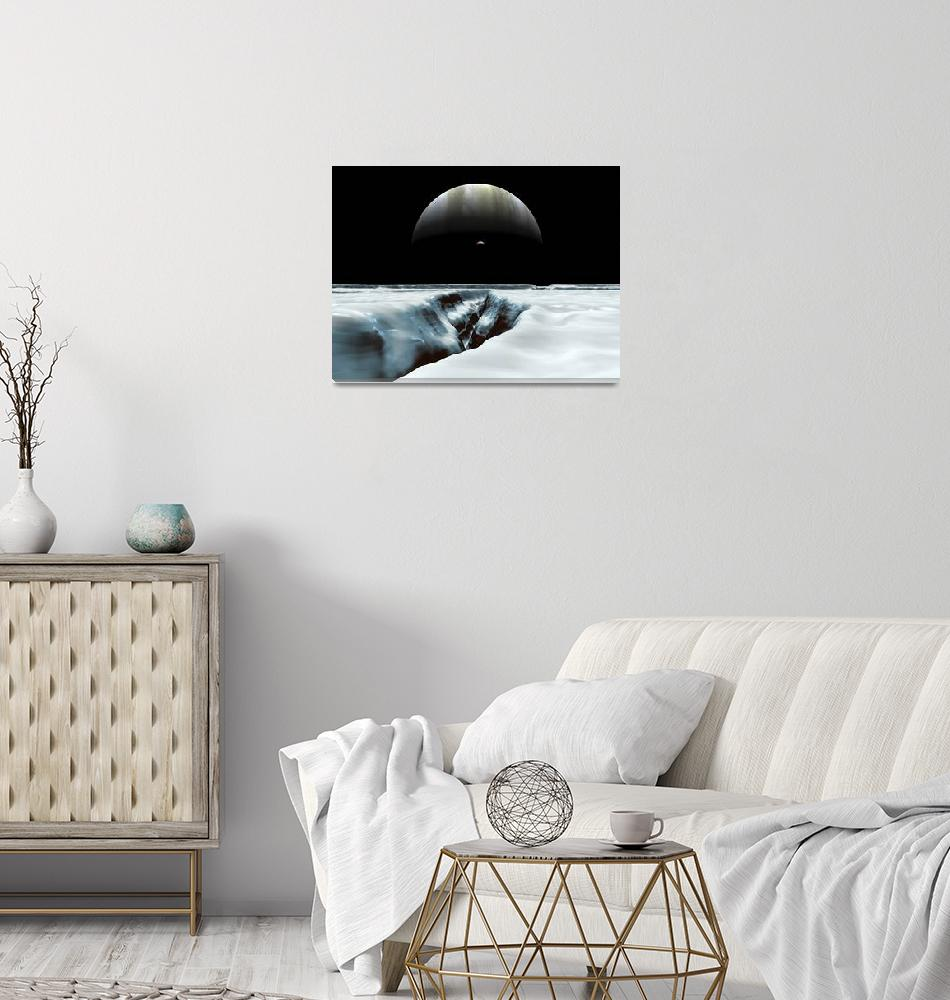 """""""A crescent Jupiter and volcanic satellite, Io""""  by stocktrekimages"""
