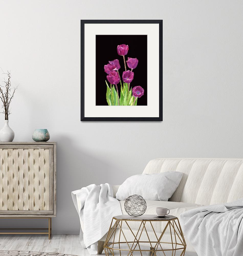 """Red Violet Tulips with Black Background""  (2014) by Pacific-NW-Watercolors"