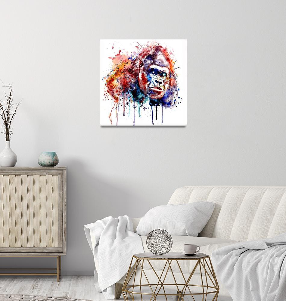 """""""Gorilla Watercolor portrait""""  (2017) by MarianVoicu"""