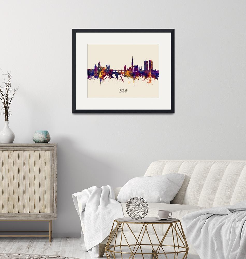 """Prague (Praha) Czech Republic Skyline""  (2019) by ModernArtPrints"