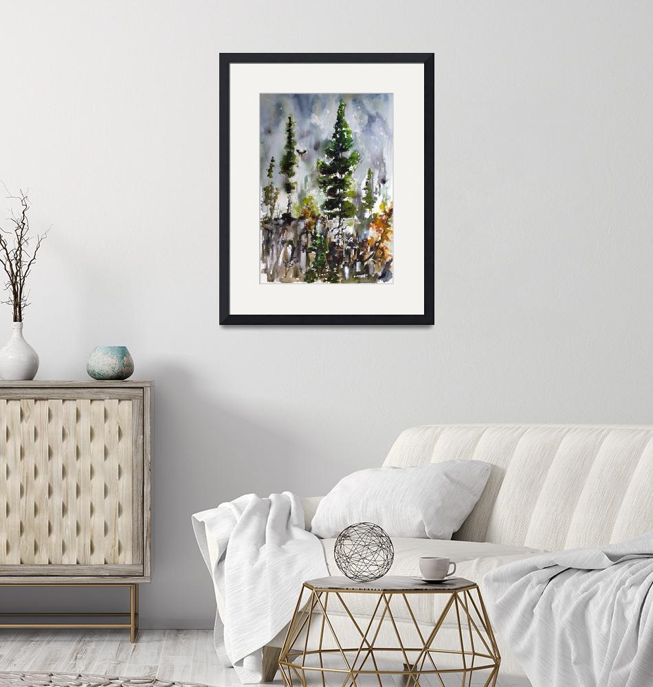 """""""Fir Trees Landscape Portrait Watercolors Nature""""  (2020) by GinetteCallaway"""