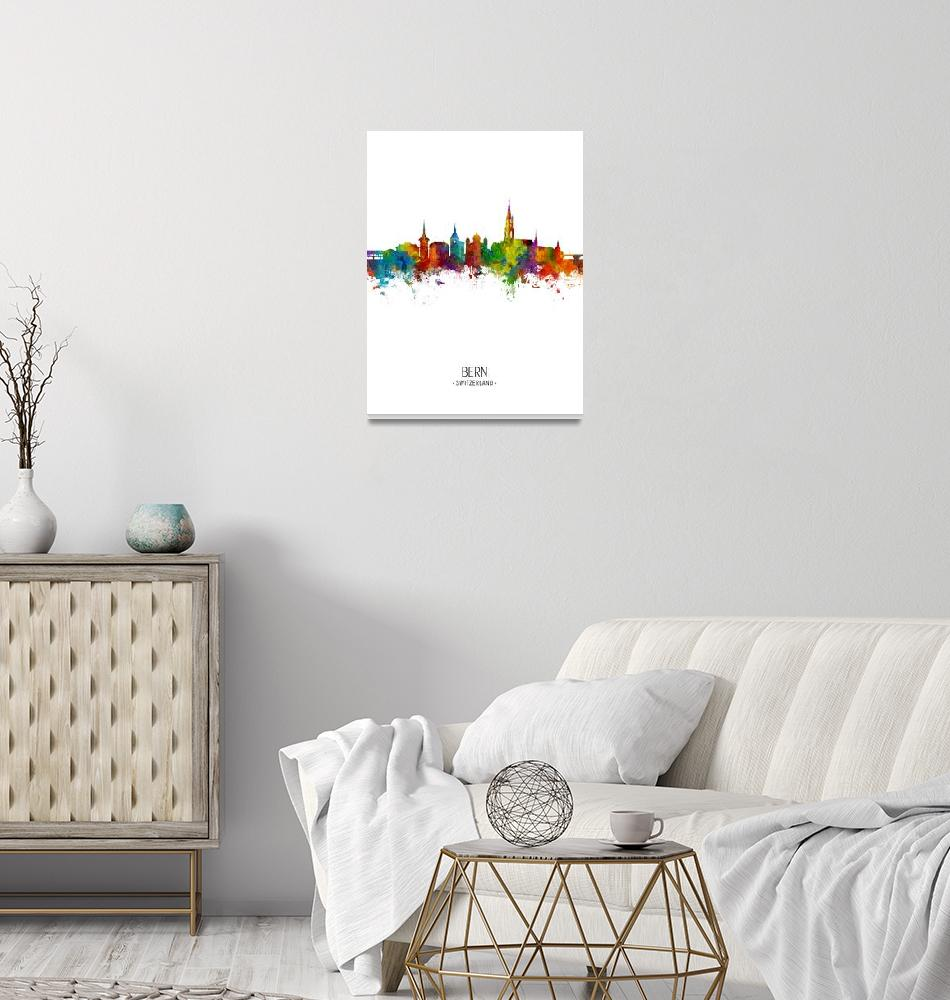 """Bern Switzerland Skyline""  (2018) by ModernArtPrints"