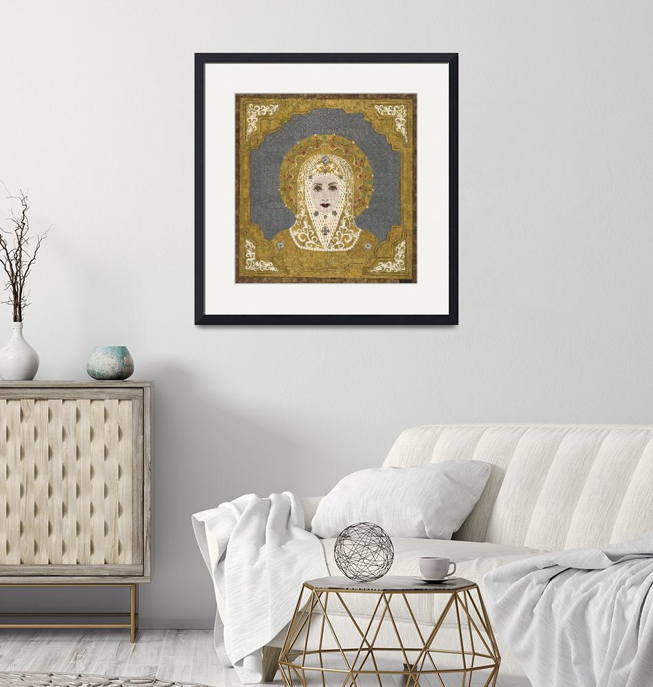 """""""""""Golden Intercessor"""" fabric mosaic - Virgin Mary""""  (2006) by RemnantWorks"""
