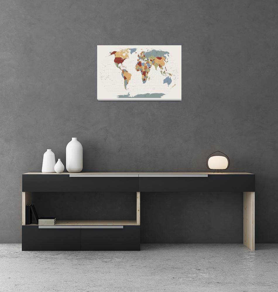 """World Map Muted Colors""  (2011) by ModernArtPrints"
