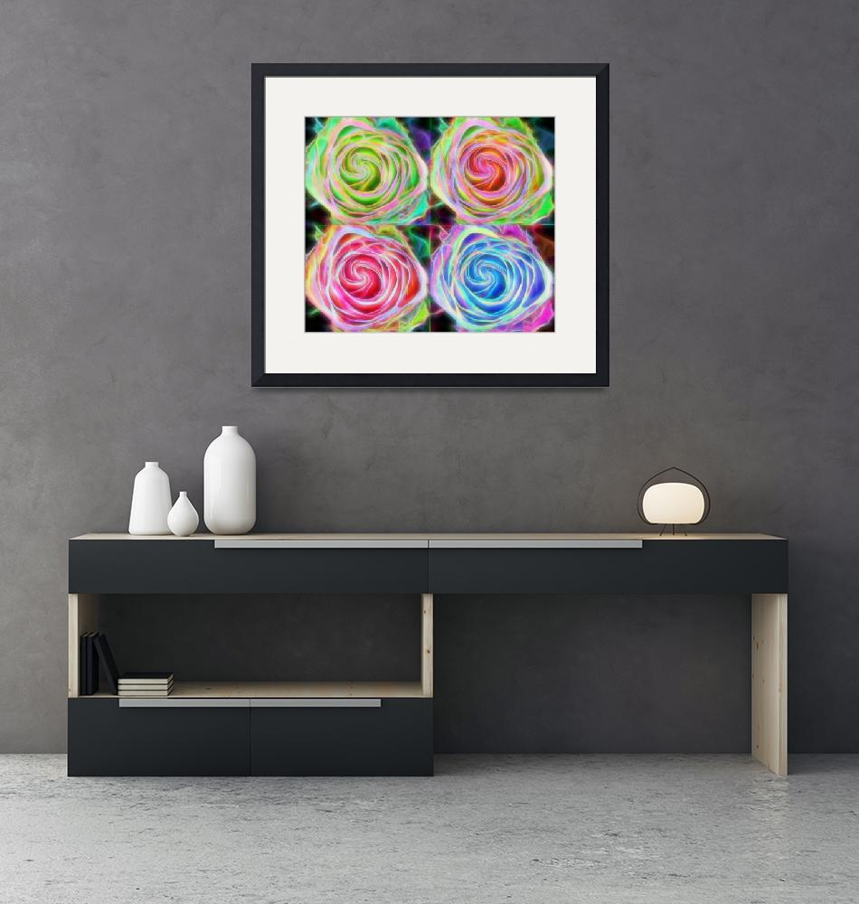 """""""Four Colorful Electrify Roses""""  (2015) by lightningman"""