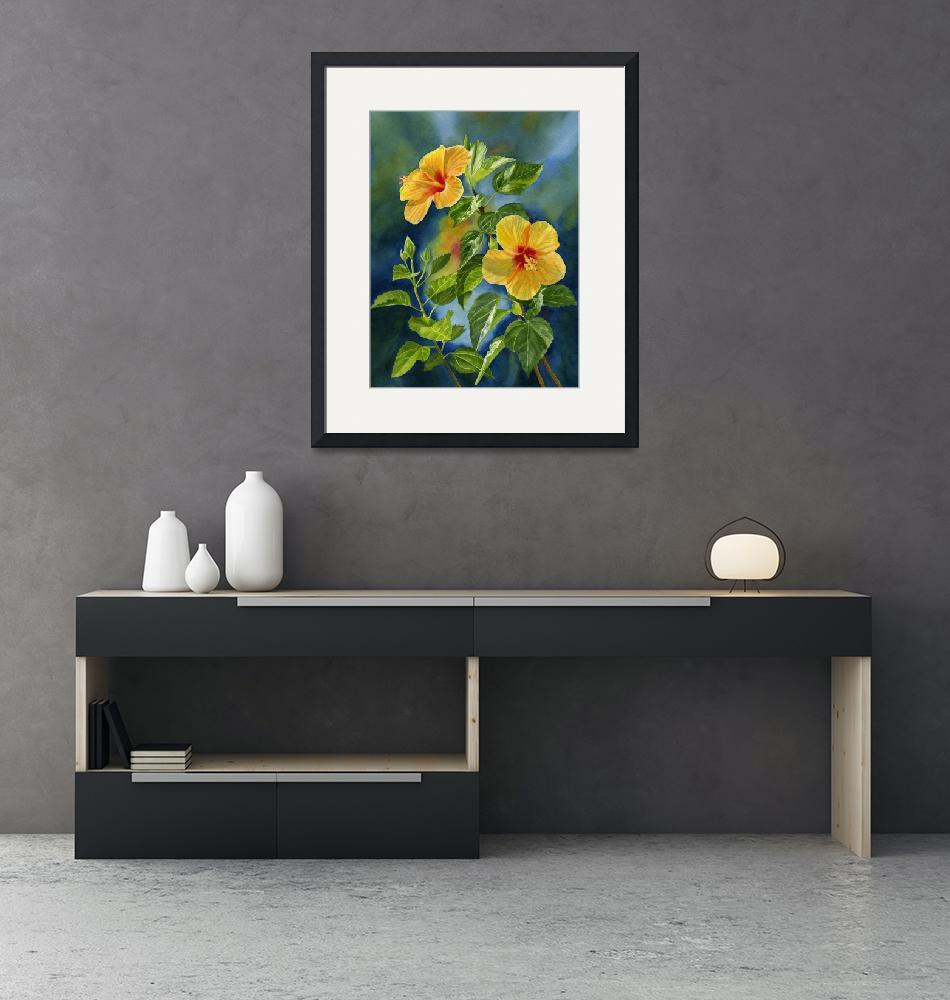 """""""topical yellow orange hibiscus with background""""  (2019) by Pacific-NW-Watercolors"""