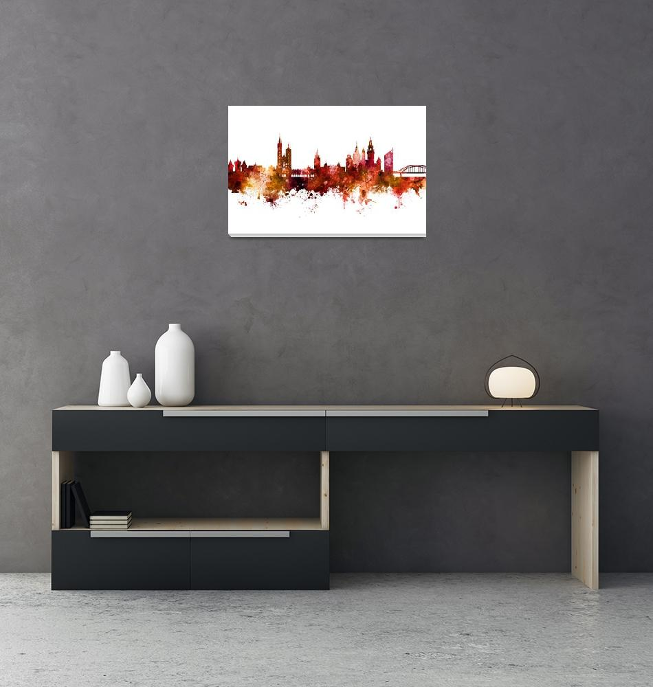 """Krakow Poland Skyline""  (2018) by ModernArtPrints"