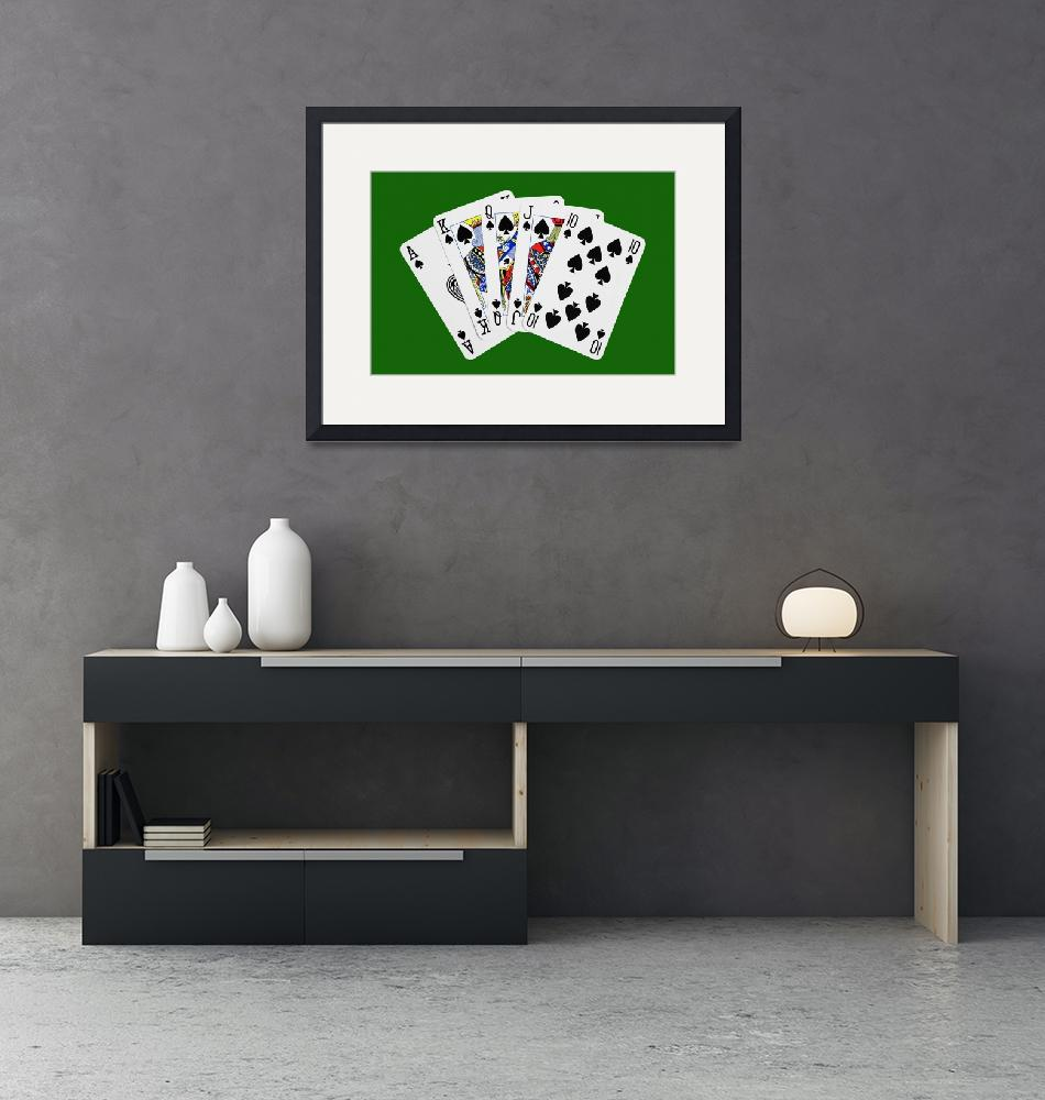 """""""Playing Cards Royal Flush on Green Background""""  (2012) by NatalieKinnear"""