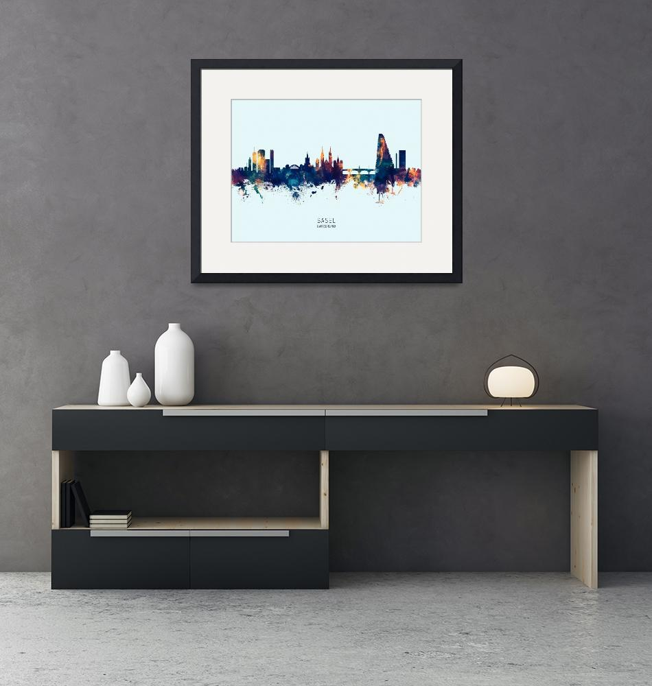 """Basel Switzerland Skyline""  (2019) by ModernArtPrints"