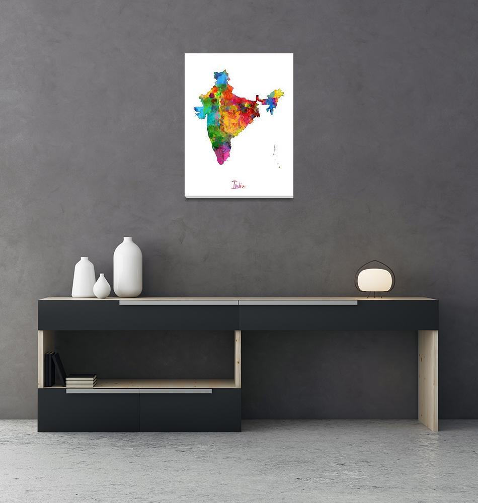"""India Watercolor Map""  (2014) by ModernArtPrints"