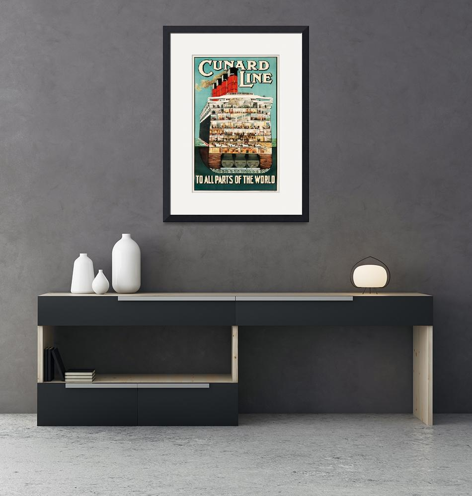 """""""Cunard Line Vintage Poster""""  by FineArtClassics"""