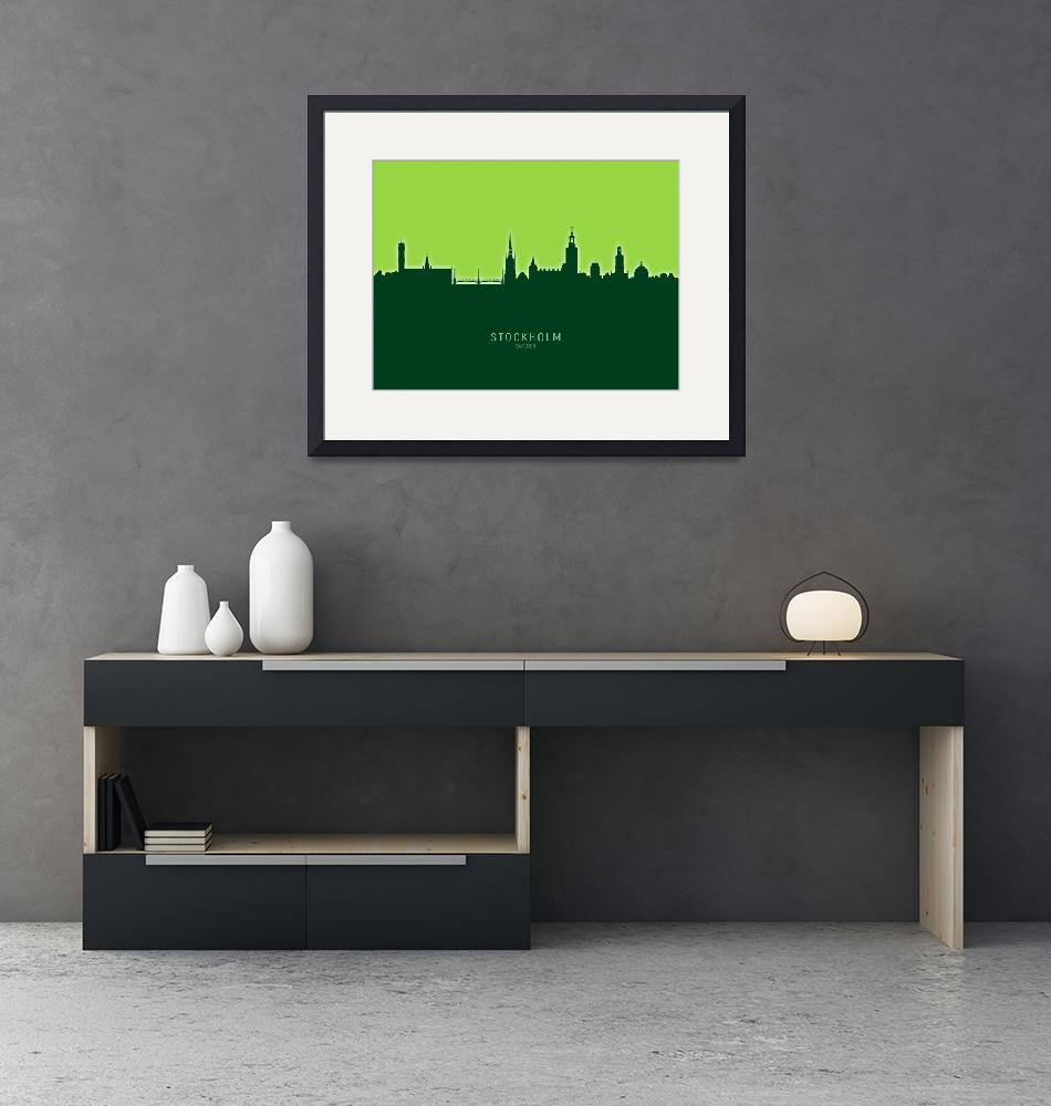 """Stockholm Sweden Skyline""  (2020) by ModernArtPrints"