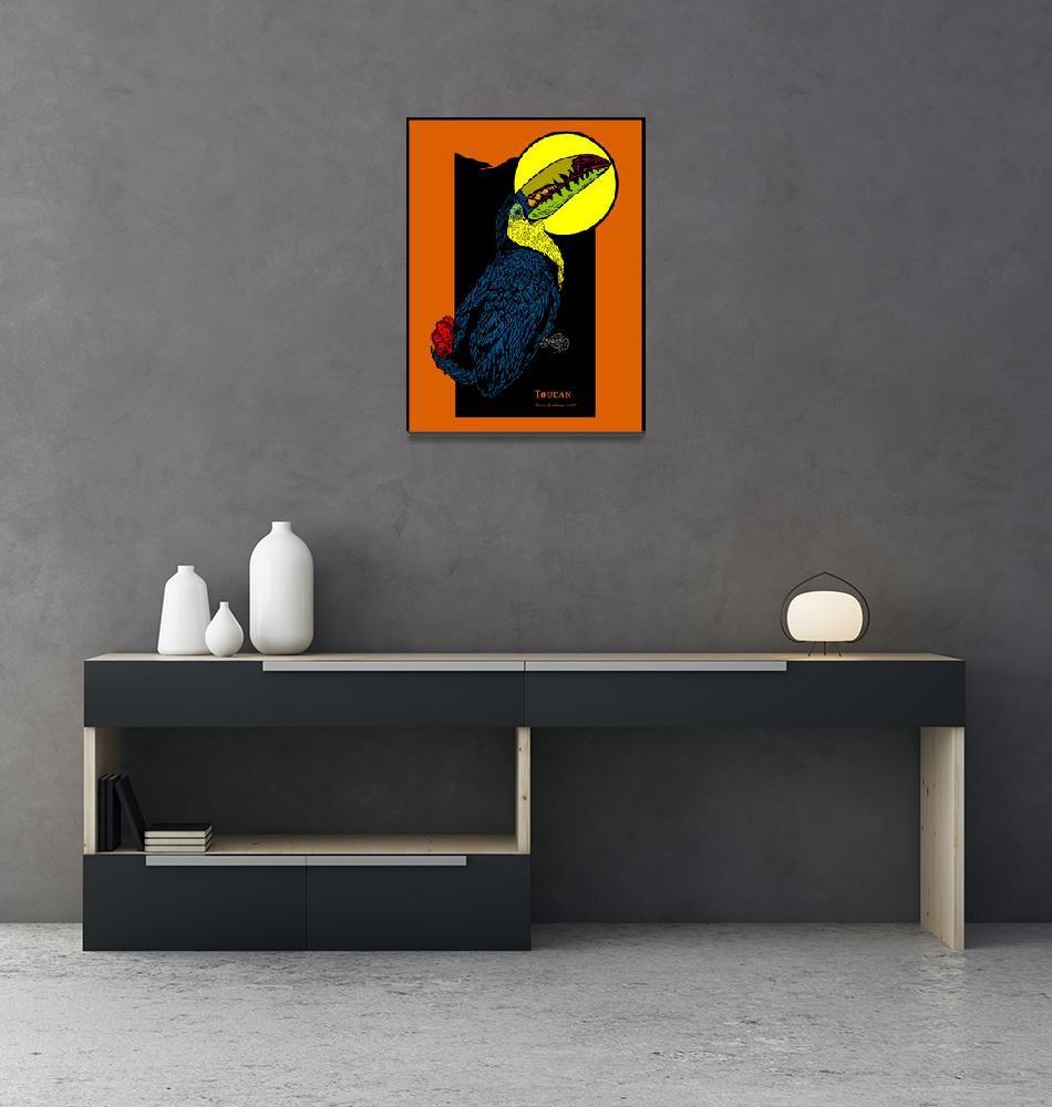 """Toucan and Full Moon""  (1994) by birdartprints"