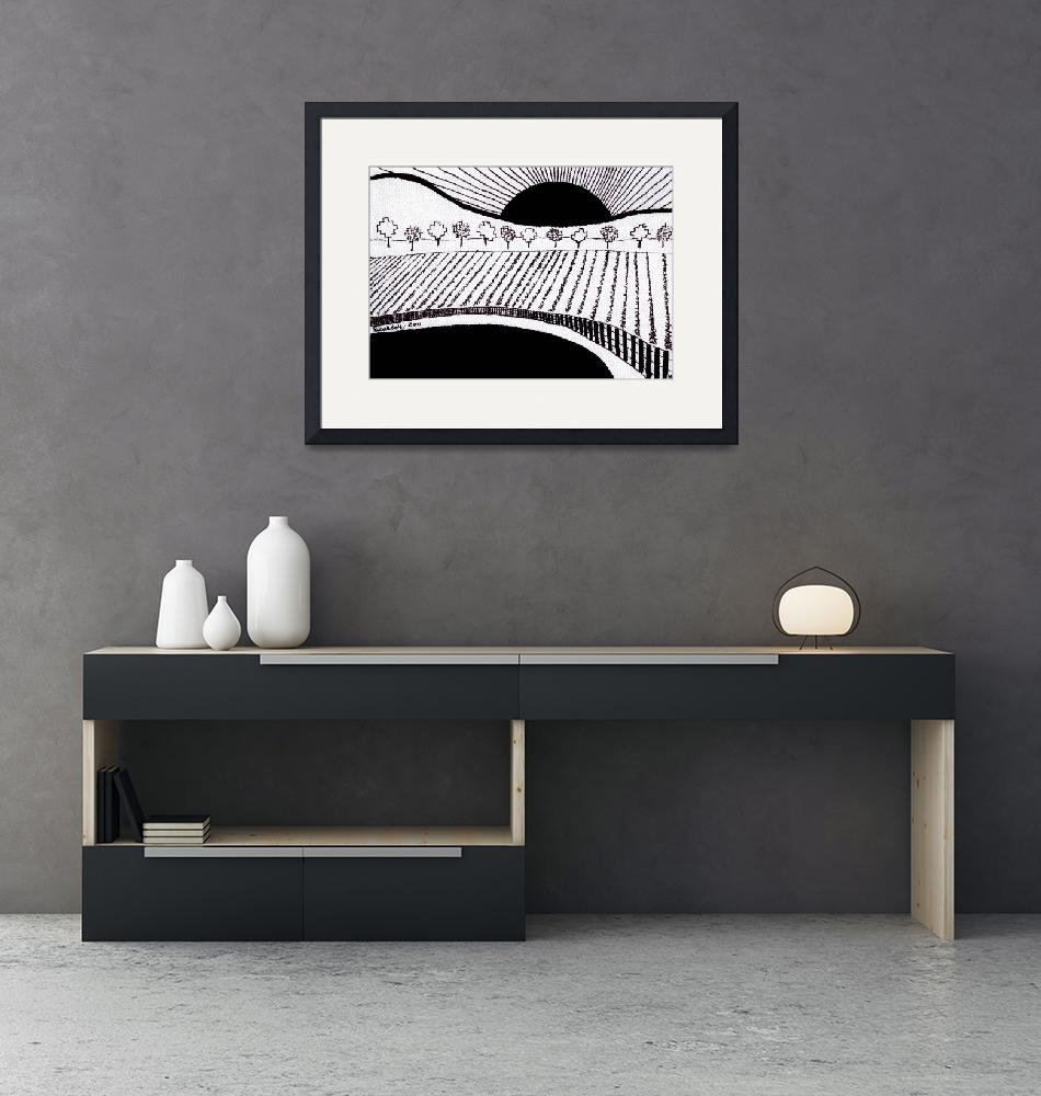 """Zen Sumi Rising Sun Black Ink on White Canvas by R""  (2011) by Ricardos"