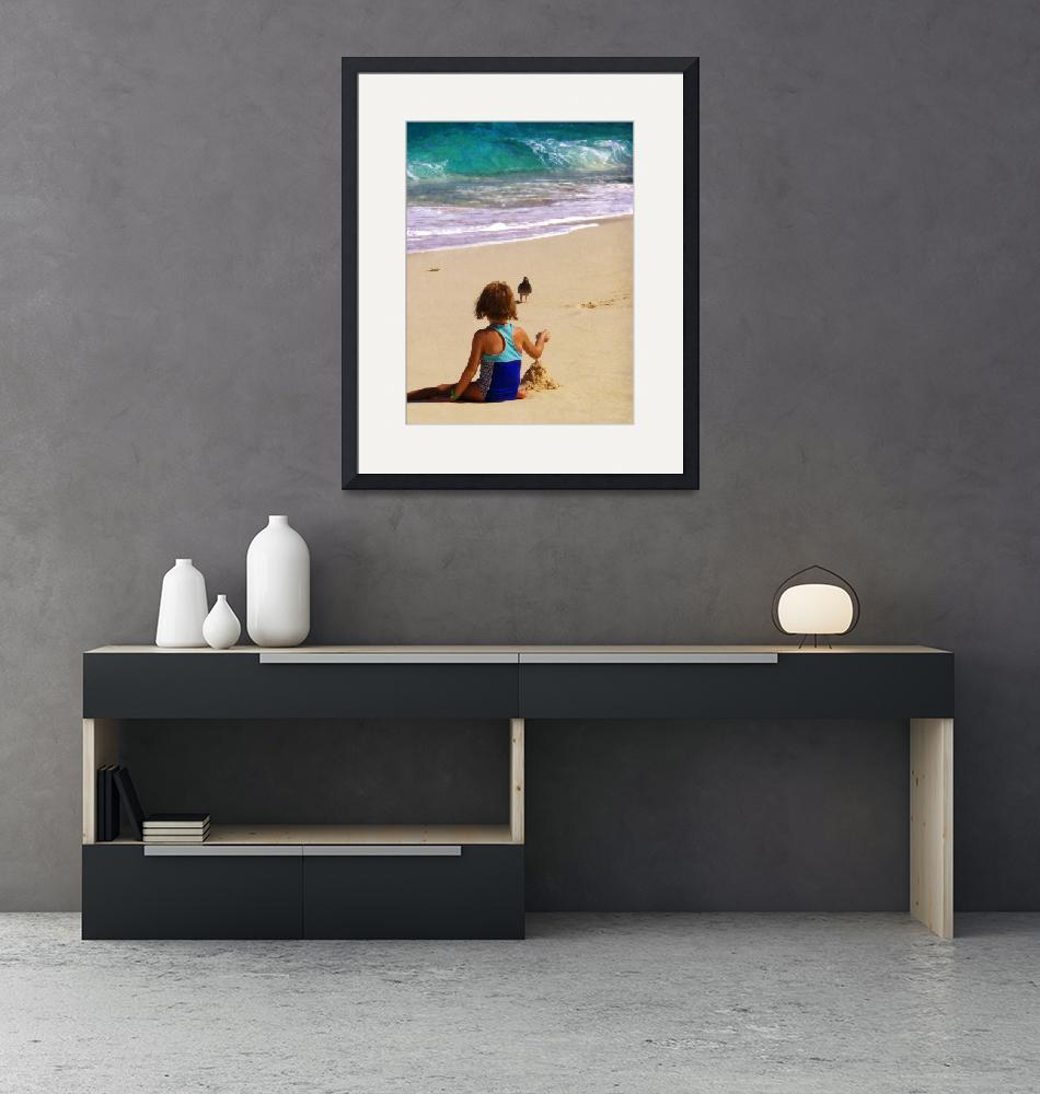 """Little Girl Playing in Sand""  by susansartgallery"