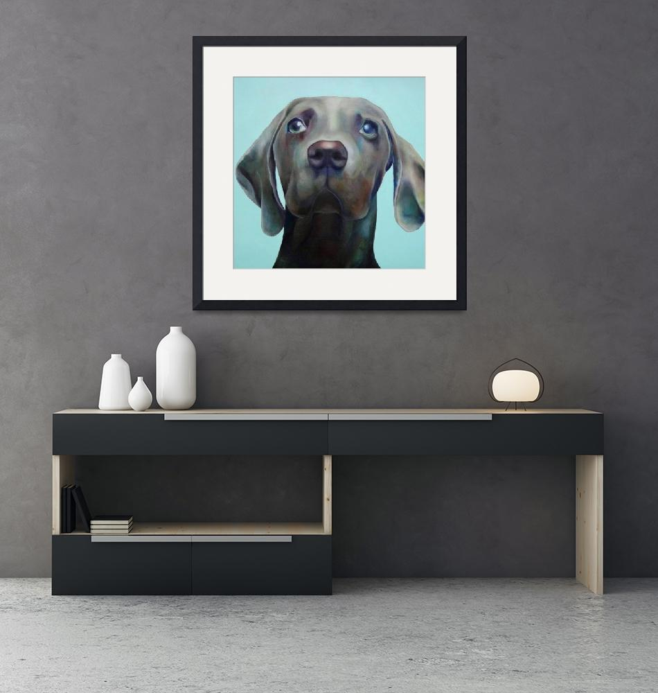 """Little Weimaraner Looking Up""  (2012) by houseofjennifer"