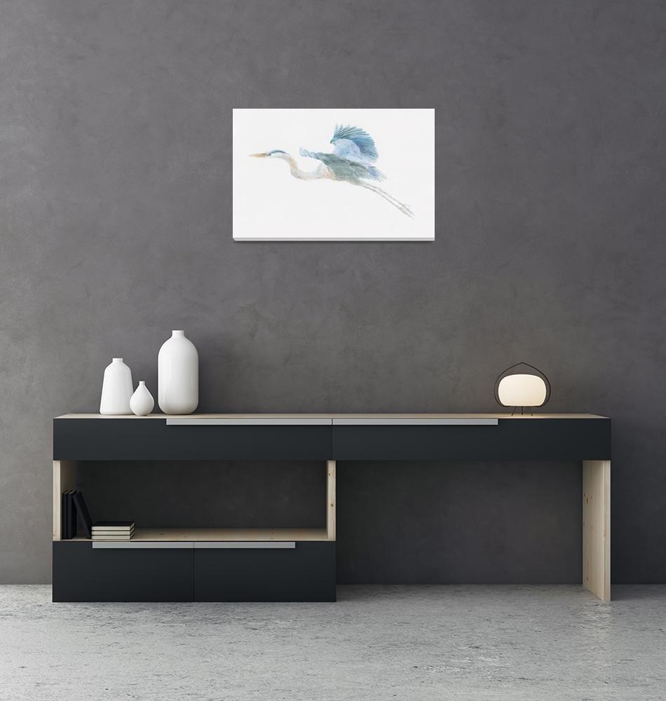 """great blue heron in flight""  (2006) by LisaMclaughlin"