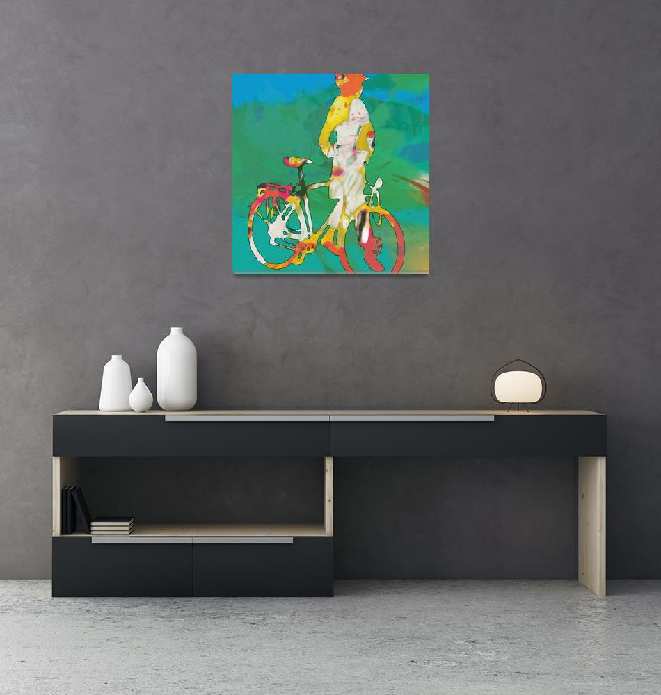 """""""Girl with bike pop stylised paper cut art poster""""  (2014) by visualharbour"""