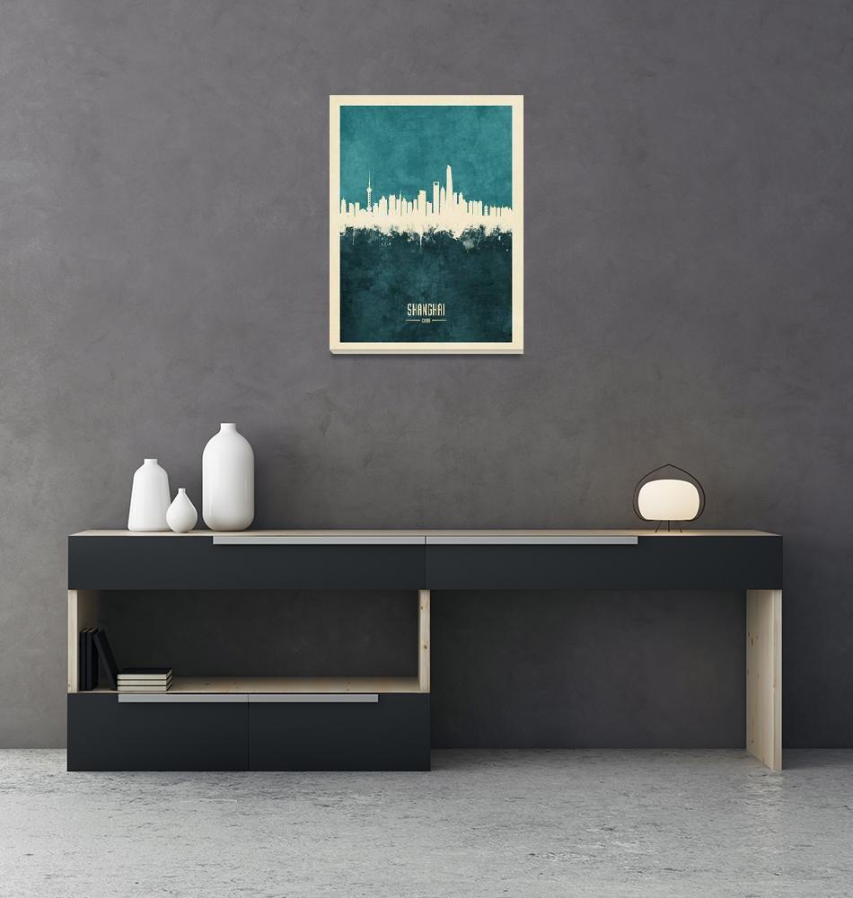 """Shanghai China Skyline""  (2018) by ModernArtPrints"