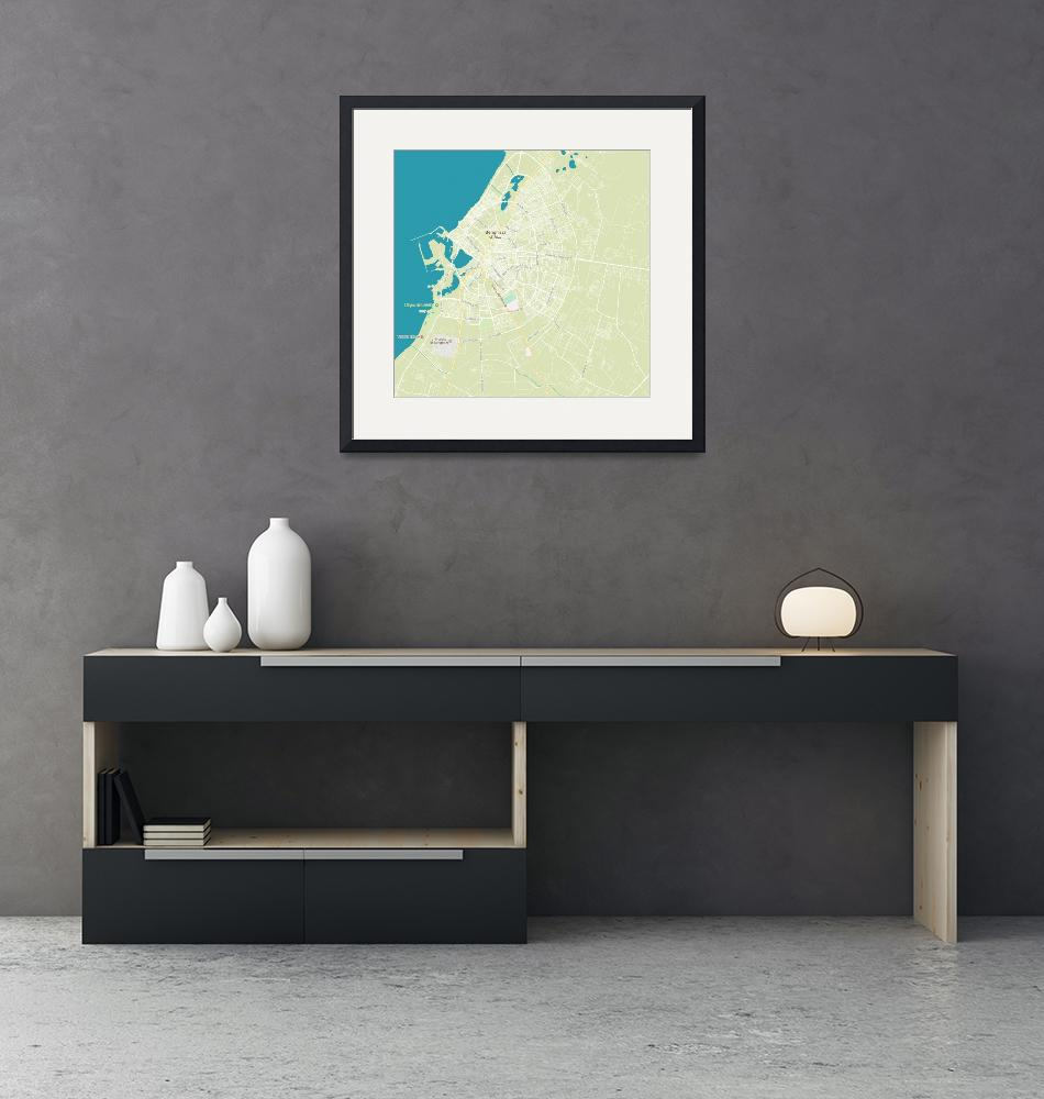 """Minimalist Modern Map of Benghazi, Libya 2""  by motionage"