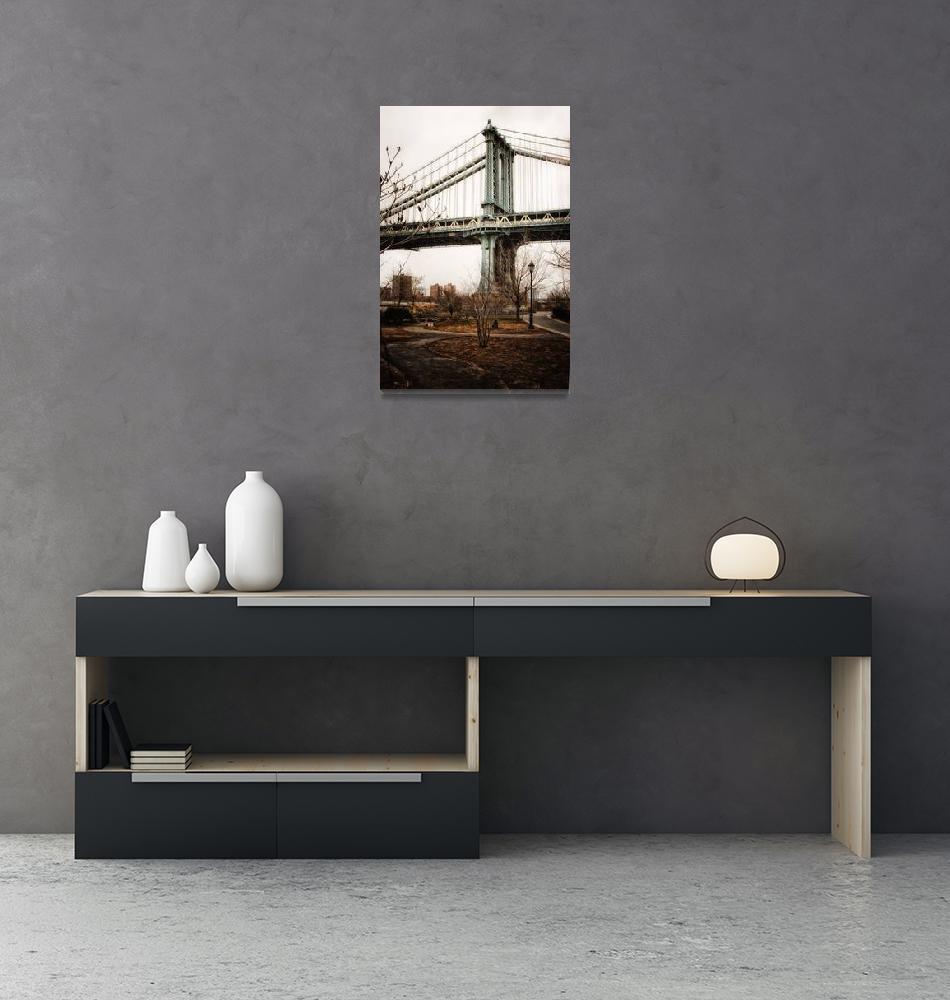 """The Manhattan Bridge from park in Dumbo""  (2012) by dennisherzog"