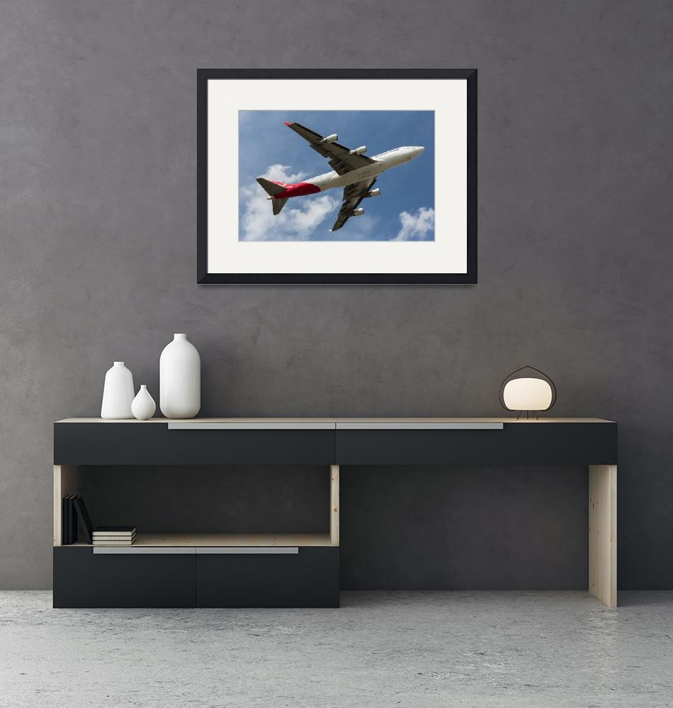 """Qantas 747 Overhead""  (2017) by JohnDaly"