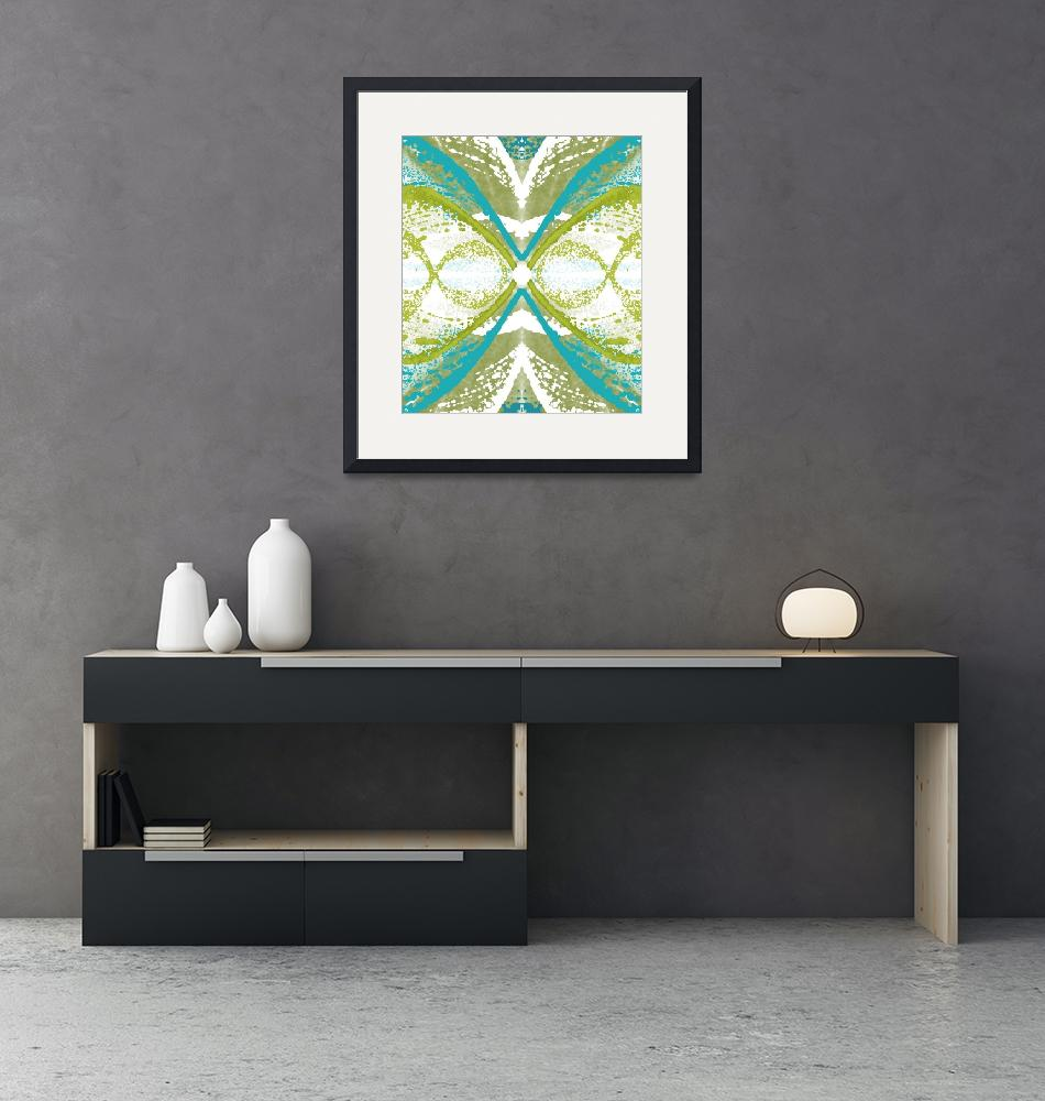 """""""Blue and Green Abstract Wings""""  (2015) by TolliverArts"""