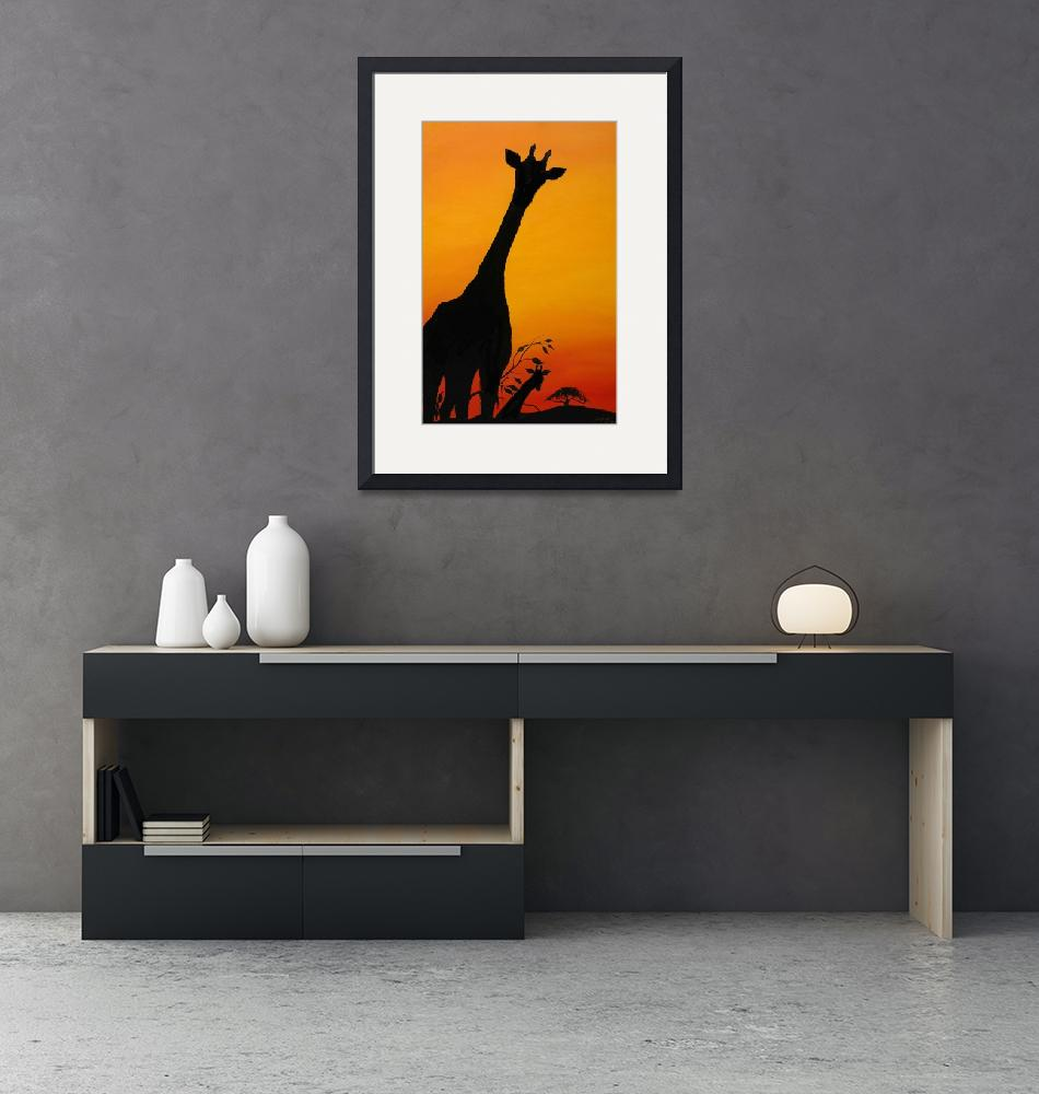"""Orange Sunset Of Serengeti 9""  (2013) by Dunbarsfineartdesign"