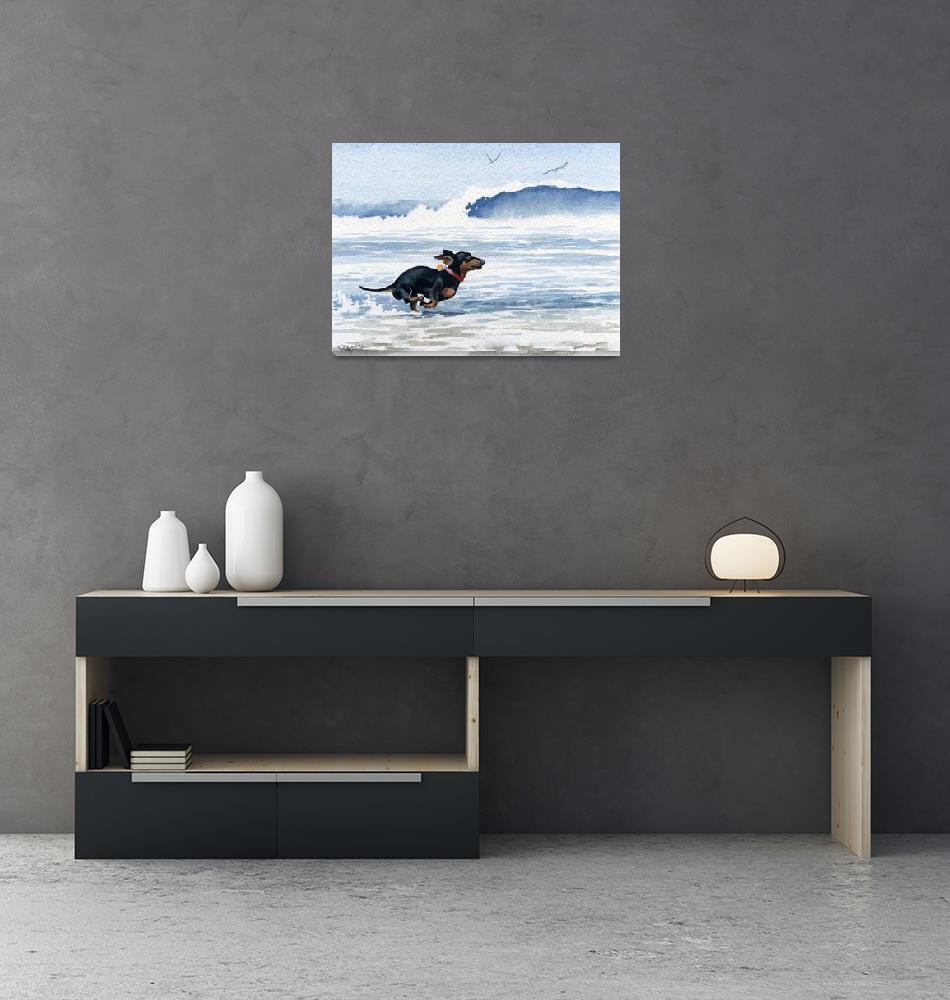"""Dachshund Running on Beach""  (2015) by k9artgallery"
