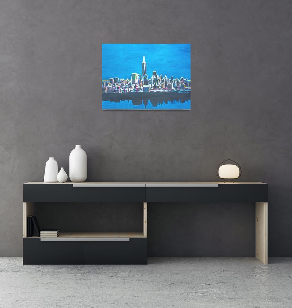 """Neon Skyline of New York City Manhattan with One W""  (2014) by arthop77"