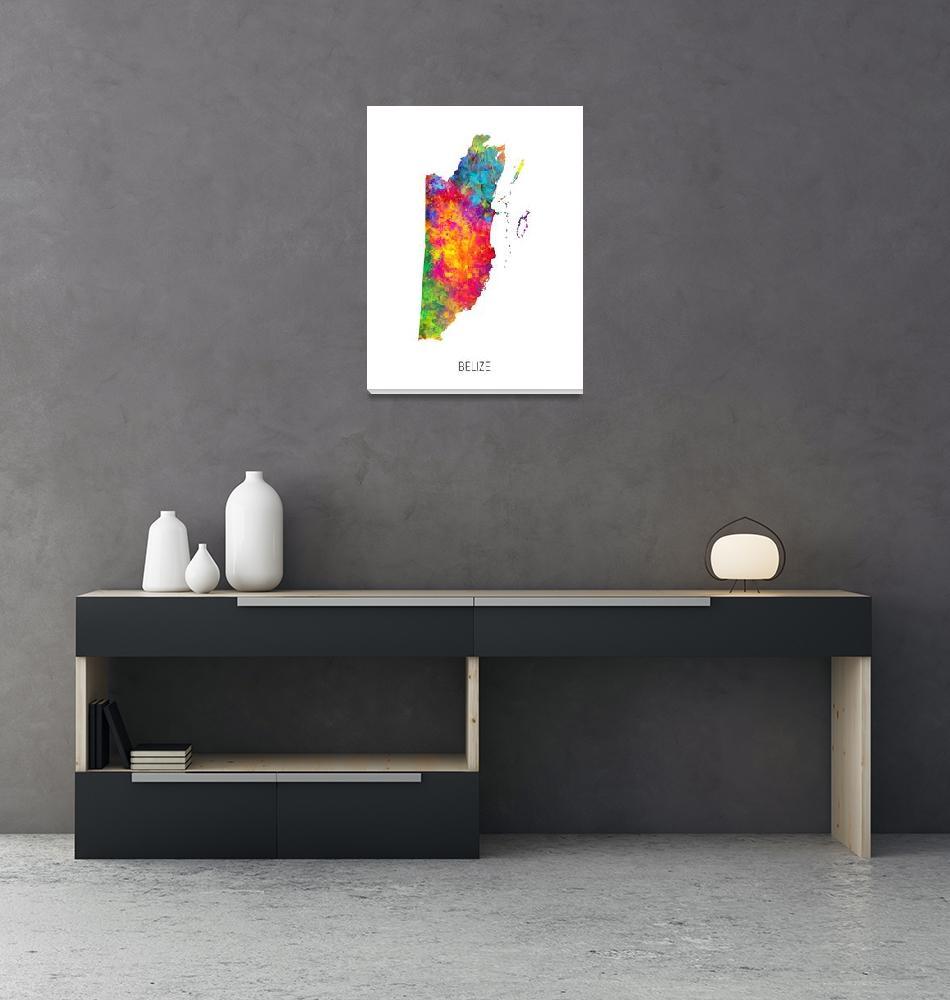 """Belize Watercolor Map""  (2019) by ModernArtPrints"