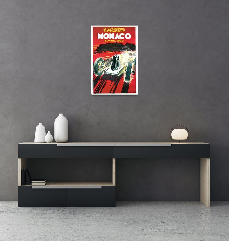 """Monaco Grand Prix Vintage 1930 Auto Race Poster"" (1930) by Johnny-Bismark"