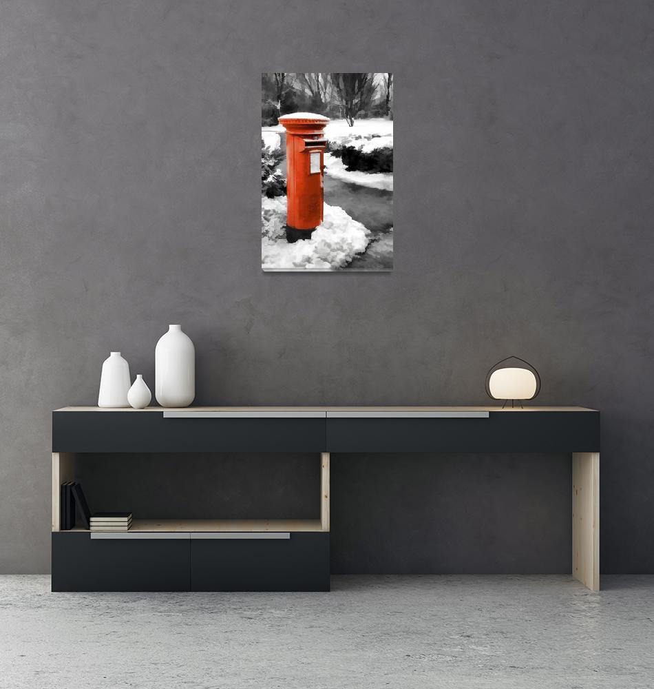 """Famous red pillar box""  (2017) by SueLeonard"