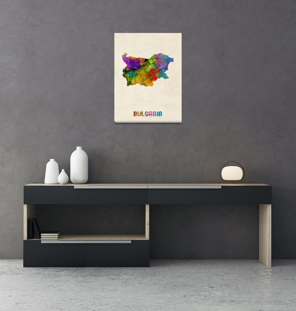 """Bulgaria Watercolor Map""  (2016) by ModernArtPrints"