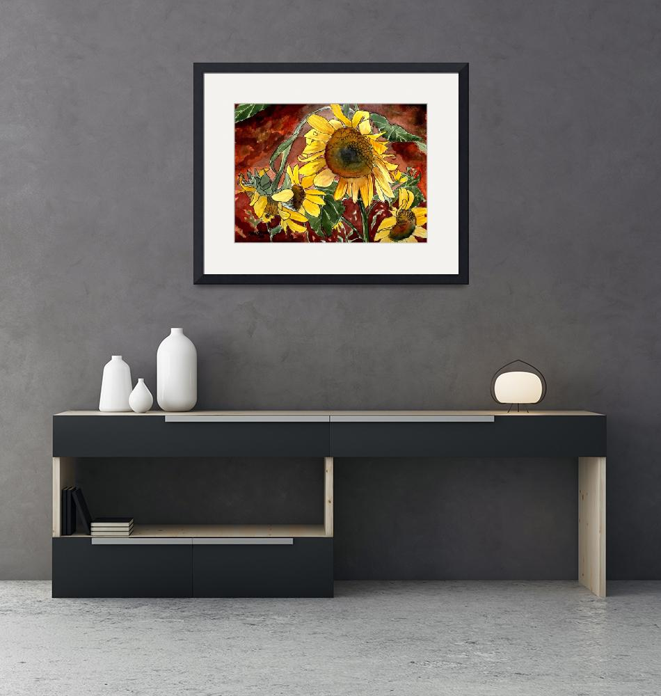 """sunflower flower paintings""  (2010) by derekmccrea"