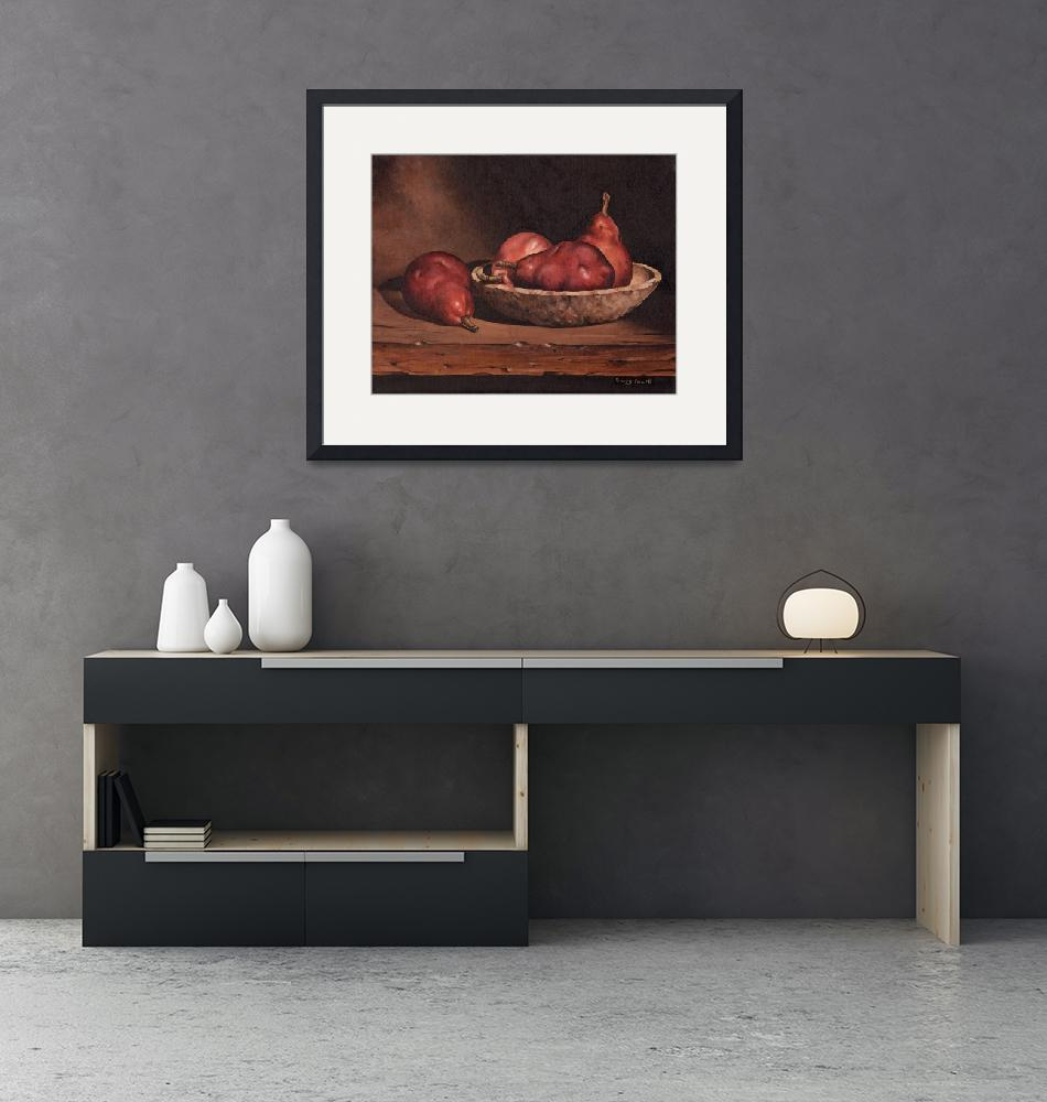 """""""Pears and Wood Bowl""""  (2009) by powellfineart"""