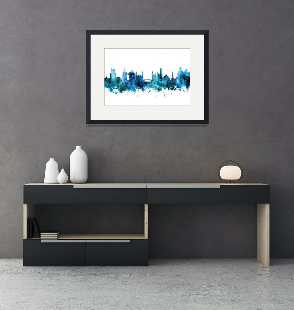 """Ljubljana Slovenia Skyline""  (2018) by ModernArtPrints"