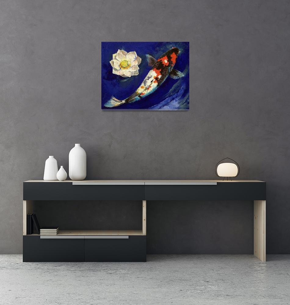 """""""Showa Koi and Lotus Flower""""  by creese"""