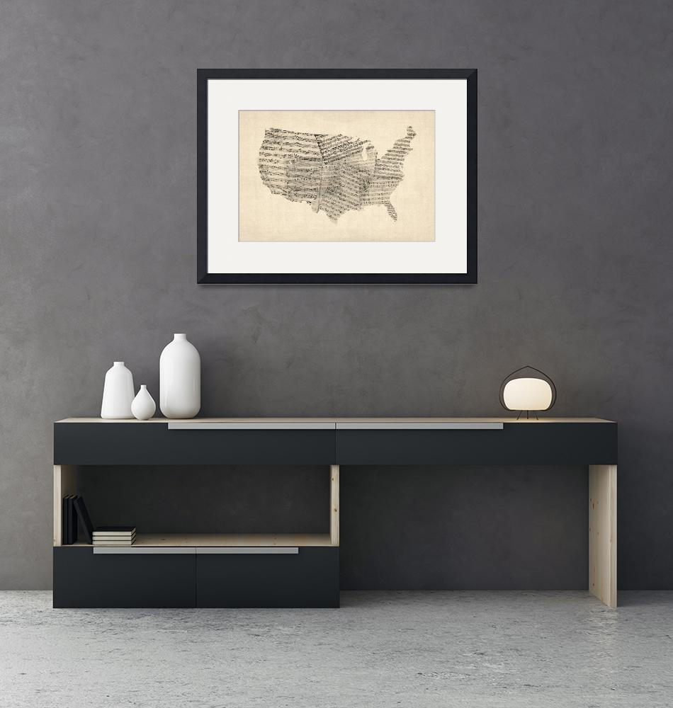 """""""United States Old Sheet Music Map""""  (2012) by ModernArtPrints"""
