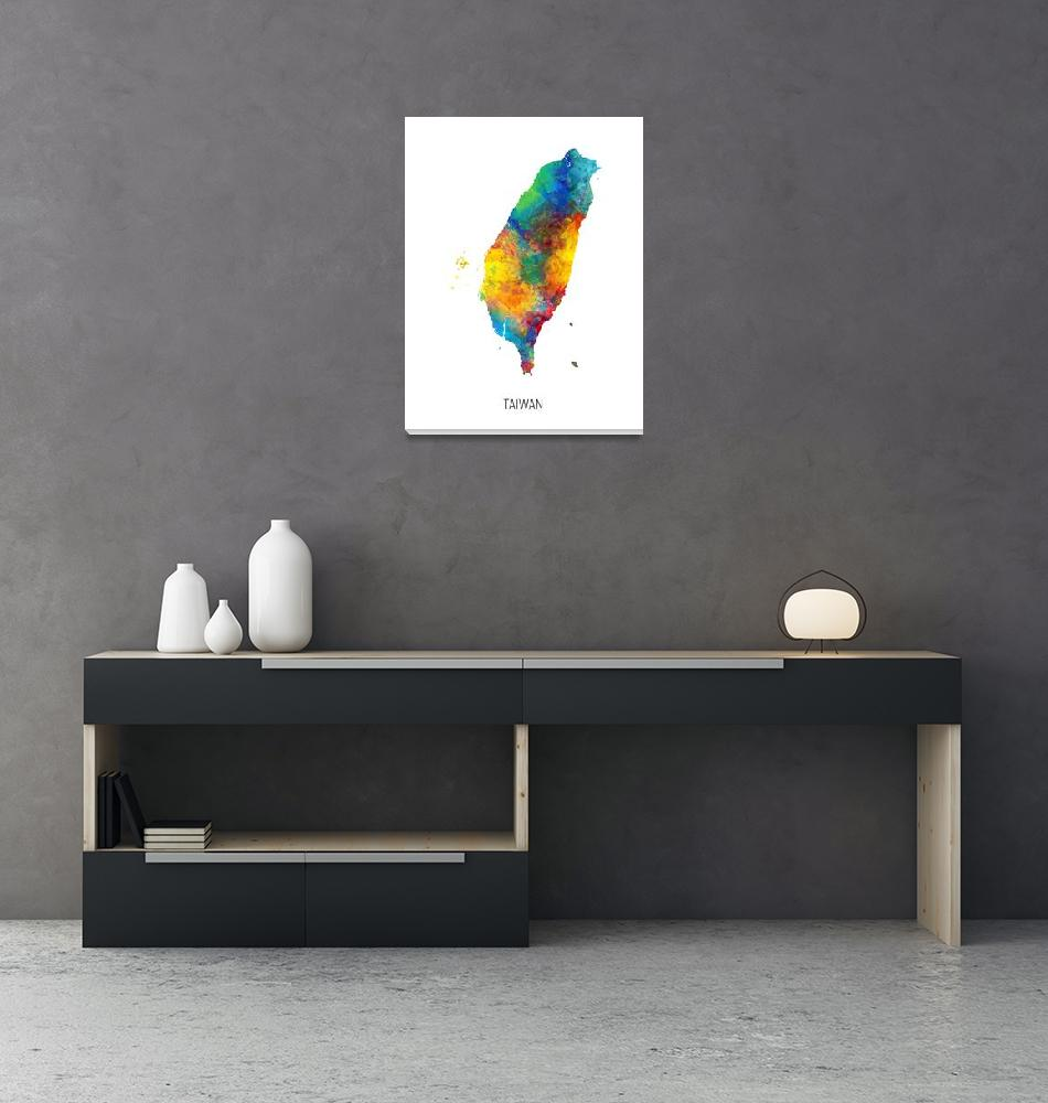 """Taiwan Watercolor Map""  (2019) by ModernArtPrints"
